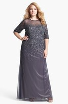 Adrianna Papell Beaded Illusion Gown (Plus Size)