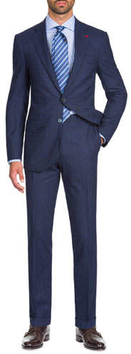 Isaia Men's Wool-Stretch Tonal Check Two-Piece Suit