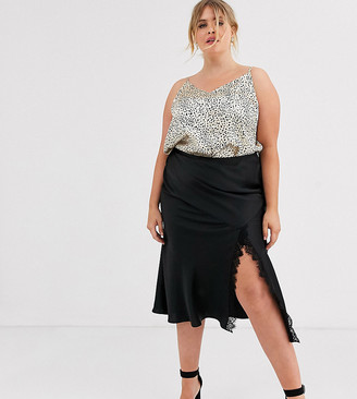 Outrageous Fortune Plus lace insert midi skirt with fluted hem in black