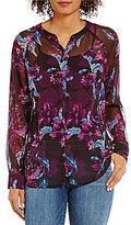 KUT from the Kloth Zuri Split V-Neck Floral Print Blouse
