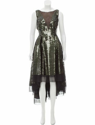 Dennis Basso Sequined High-Low Dress green