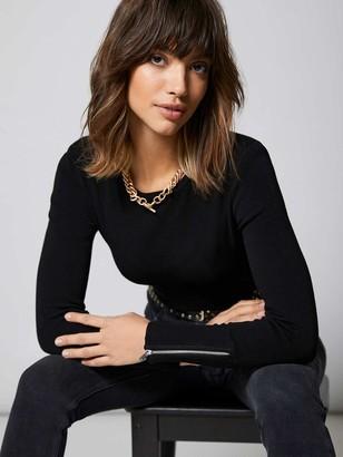 Mint Velvet Shoulder Pad Knitted Top - Black