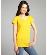 LnA mustard yellow cotton short sleeve scoop neck t-shirt