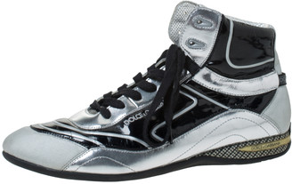 Dolce & Gabbana Silver/Black Leather, Canvas and Patent High Top Sneakers Size 44