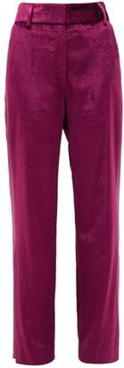 Sies Marjan Sonya Satin-stripe Velvet Trousers - Womens - Burgundy