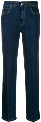 Stella McCartney Monogram-Trim Straight-Leg Jeans
