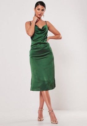 Missguided Green Satin Cowl Cami Slip Midi Dress