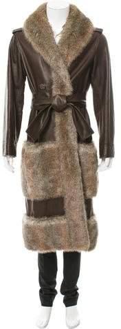 Chanel Fantasy Fur-Trimmed Leather Coat