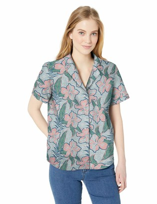 28 Palms Women's Loose-Fit 100% Cotton Aloha Blouse Hawaiian Shirt