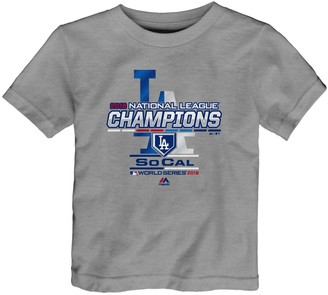 Majestic Toddler Heather Gray Los Angeles Dodgers 2018 National League Champions Locker Room T-Shirt