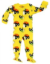 "Elowel Pajamas Elowel Baby Boys footed ""monster truck"" pajama sleeper 100% cotton 2 Toddler"
