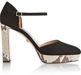 Diane von Furstenberg Mika Suede And Snake-effect Leather Platform Pumps - Black