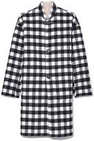 Mansur Gavriel Reversible Stand Collar Coat in Beige/Checker