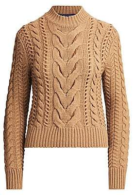 Ralph Lauren Women's Suede Lacing Cable Knit Sweater