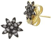 Freida Rothman Women's 14ct Gold Plated Sterling Silver Starburst Pave Stud Earrings