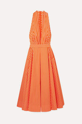 Sara Battaglia Striped Cotton-poplin Halterneck Midi Dress - Bright orange