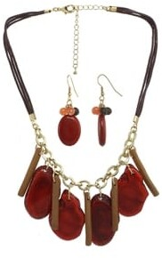 Alexa Starr Coral & Brown Stone Statement Necklace and Earrings Set - Orange