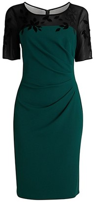 Adrianna Papell Velvet Applique Crepe Sheath Dress
