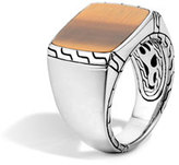 John Hardy Silver Signet Ring with Tigers Eye