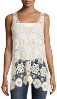Romeo & Juliet Couture Floral Crochet Sleeveless Top, Beige