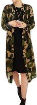 uxcell® Women Semi Sheer Camouflage Chiffon Tunic Cardigan