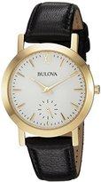 Bulova Women's Quartz Stainless Steel and Leather Casual Watch, Color:Black (Model: 97L159)