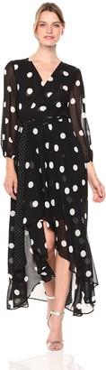 Brinker & Eliza Women's Long Sleeve Polka Dot Maxi Dress