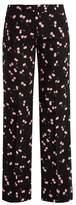 Miu Miu Cherry-print mid-rise wide-leg trousers