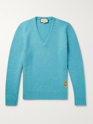 Gucci Logo-Appliqued Brushed-Wool Sweater