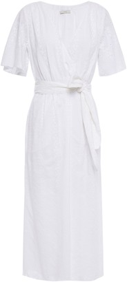 Joie Wrap-effect Broderie Anglaise Cotton Midi Dress