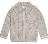 River Island Mini boys grey cable knit bomber cardigan