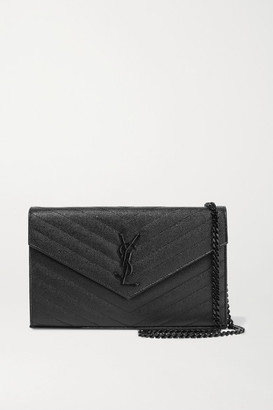Saint Laurent Monogramme Mini Quilted Textured-leather Shoulder Bag - Black