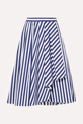 Jason Wu Collection - Draped Striped Cotton-poplin Skirt - Navy