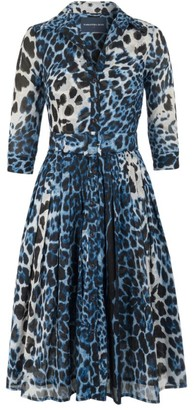 Samantha Sung Audrey Leopard-Print Belted Shirtdress