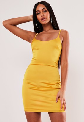 Missguided Mustard Stretch Satin Bodycon Mini Dress