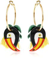 Nach Toucan & Palm Leaves Hoop Earrings