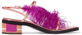 Emilio Pucci Feather-trimmed metallic leather sandals