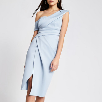 River Island Blue one shoulder wrap bodycon midi dress