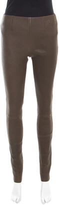 Louis Vuitton Olive Green Textured Lamb Leather Pants M