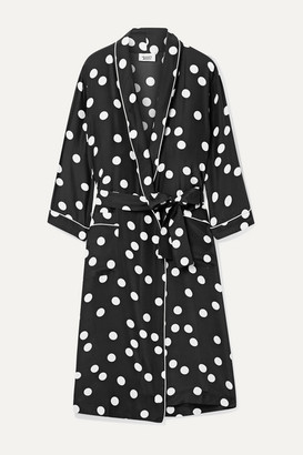 Sleepy Jones Marianne Polka-dot Silk-charmeuse Robe - Black