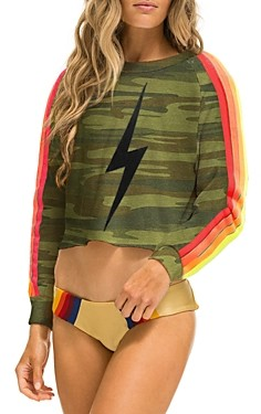 Aviator Nation Camo Print Bolt Cropped Sweatshirt