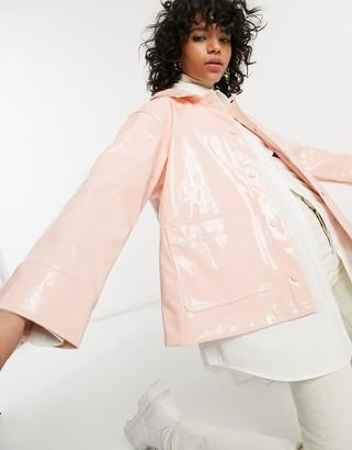 Weekday Electra vinyl rain jacket in orange