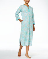 Miss Elaine Zip-Front Printed Knit Robe