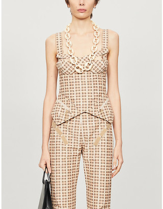 Charlotte Knowles Tactical checked cotton-blend bustier top