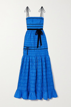 Molly Goddard Minnie Velvet-trimmed Shirred Tiered Taffeta Gown - Blue