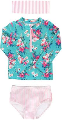 RuffleButts Girl's Floral Seersucker Rash Guard Bikini w/ Headband, Size 3M-10