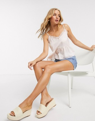 Miss Selfridge lace cami top with peplum hem in oyster