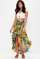 Missguided Dip Hem Frill Floral Maxi Skirt