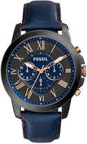 Fossil Men's Chronograph Grant Blue Leather Strap Watch 44mm FS5061