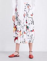 Erdem Elena Paisley Parrot-print cotton-poplin midi skirt